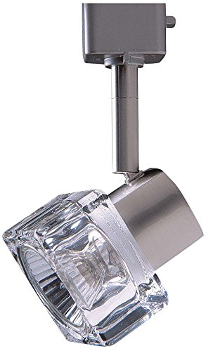 Kendal Lighting TLGU-12-SN Designers Choice 1 Light 120V GU10 Track Head, Satin Nickel Finish and Clear Cube Glass (Cube Track Light)