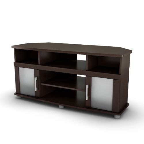 City Life Corner TV Stand – Fits TVs Up to 50 Wide – Chocolate – by South Shore