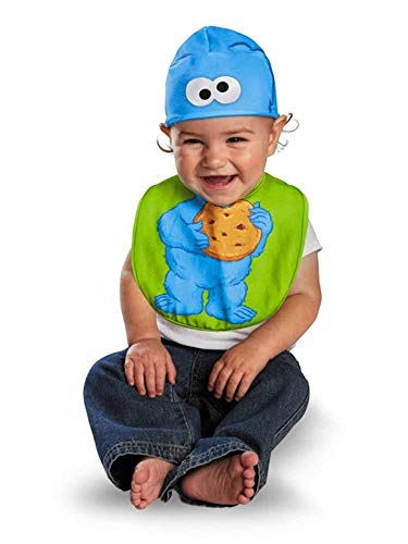 Disguise Costumes Drool Over Me Sesame Street Cookie Monster Infant Bib and Hat  Accessory, Blue/Green, 0-12 Months ()