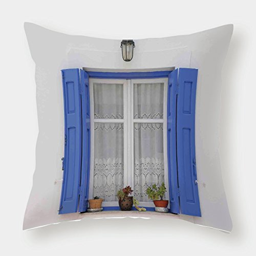 iPrint Microfiber Throw Pillow Cushion Cover,Shutters Decor,Typical Greek Style Wooden Window Shutters with Flowers Image Mediterranean Decor,White Tuquoise,Decorative Square Accent Pillow Case by iPrint