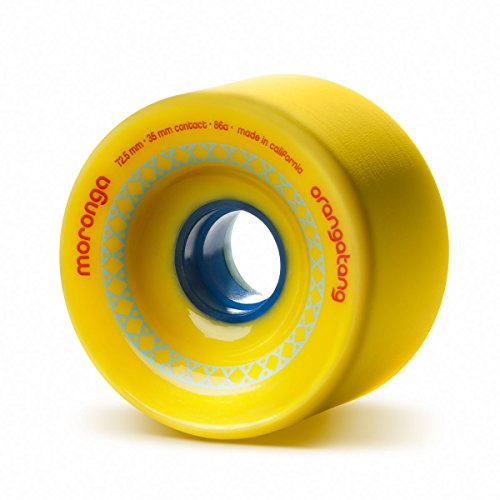 Orangatang Moronga 72.5 mm 86a Freeride Longboard Skateboard Wheels (Yellow, Set of 4)