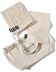 Ivy's Selection Certified Organic Cotton Mesh Produce Bag, Bread Bag and Canvas Tote Bag, 9 Pcs Set