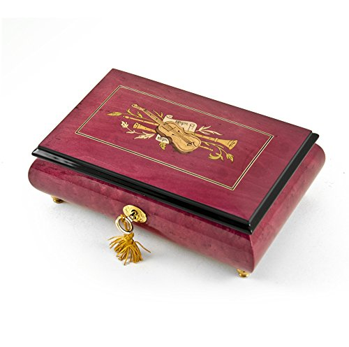 Radiant 18 Note Red Wine Violin Inlay Musical Jewelry Box - Over 400 Song Choices - Ave Maria, Schubert