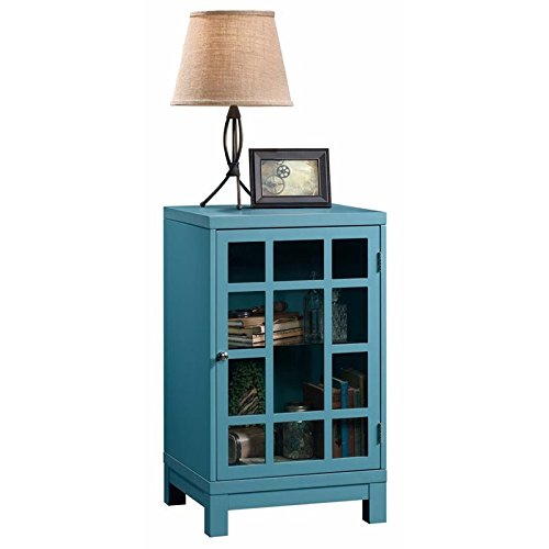 Pemberly Row Accent Curio Cabinet in Moody Blue by Pemberly Row