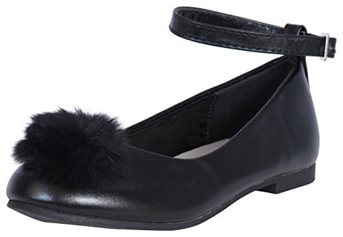 Nanette Lepore Girls Ballet Flats with Strap and Pom Pom Over Toe, Black, Size 4'
