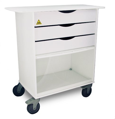 TrippNT 51823 White Polyethylene MRI Extra Wide Storage Lab Cart with 5