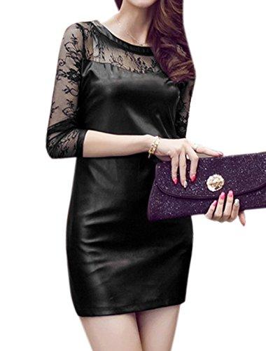 Lace Dress Sheer PU Women Semi Black Sleeves Allegra K Sheath Panel tpzwwT