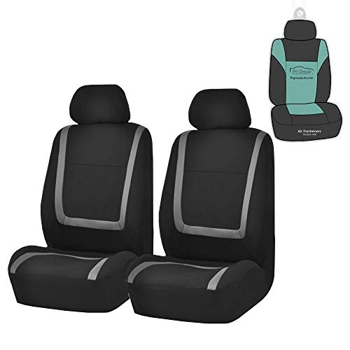 (FH Group FB032102 Unique Flat Cloth Pair Set Seat Covers w. 2 Detachable Headrests,Gray/Black- Fit Most Car, Truck, SUV, or Van)