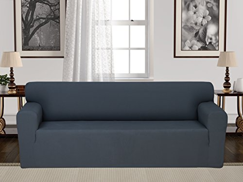 Anti-Slip Jacquard 1-Piece Spandex Stretch Elastic Pet Dog Sofa Couch Cover Slipcover Non-Slip Arm-chair Love-Seat Furniture Protector Shield 1 2 3 Seater T Cushion L Shaped (Sofa - Gray) (Leather Pillows Large)