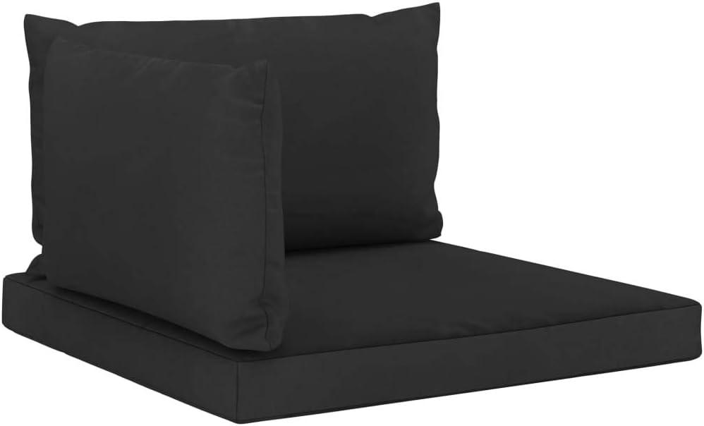 Festnight Sofa de Terrasse Coussin de Si/ège Coussins de canap/é Palette 3 pcs Noir Tissu
