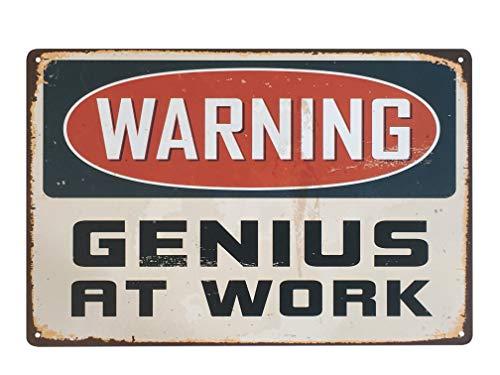 UNIQUELOVER Warning Genius at Work Retro Vintage Decor Metal Tin Sign 12 X 8 Inches