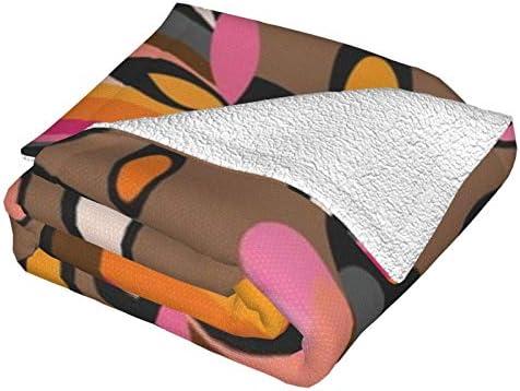 Couverture en polaire, coupe de papier à fleurs du milieu du siècle en papier peint en peluche ultra douce et moelleuse pour canapé, lit et salon 127 x 101,6 cm