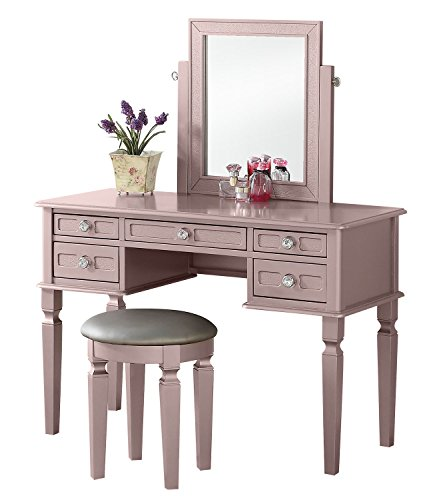 (BOBKONA F4186 Vanity Table with Stool Set, Rose Gold)