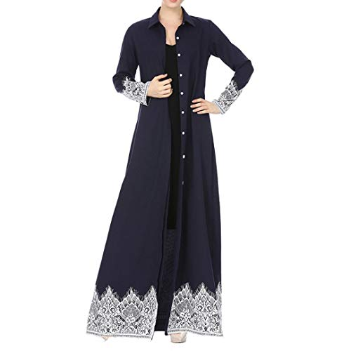 Pandaie Womens Jacket,Muslim Women Lace Trimmed Front Abaya Muslim Maxi Kaftan Kimono by Pandaie