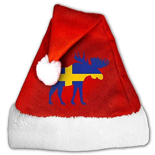 Red and White Santa Hat, Cute Moose Sweden