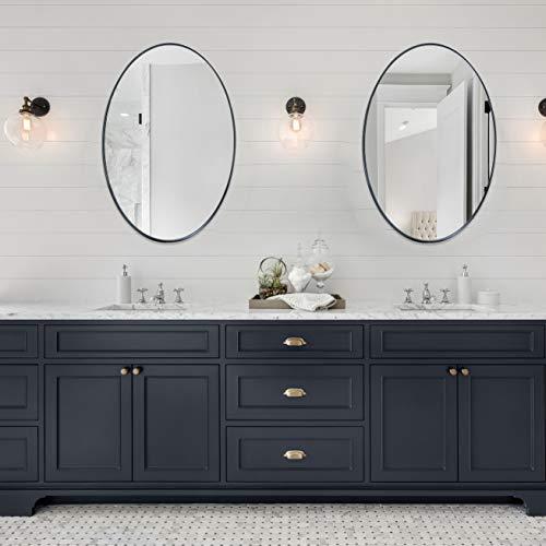 Andy Star Oval Wall Mirror 22x30x1 Modern Black Bathroom Mirror With Stainless Steel Metal Frame 1 Deep Set Design Pricepulse