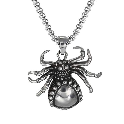 ATDMEI Spider Pendant Necklace for Men Women Stainless Steel Vintge Gothic Jewelry ()