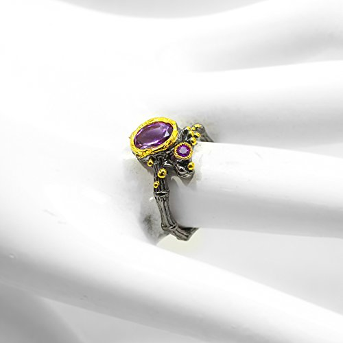 Natural Amethyst 8x6mm 925 Sterling Silver Ring Size 6 7 8 us