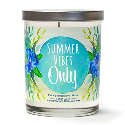 Summer Vibes Only | Floral, Sandalwood, Musk | Luxury Scented Soy Candles |10 Oz. Clear Jar Candle | Made in The USA | Decorative Aromatherapy | Unique Gifts for Women or Men | Mom, Wife, Friend