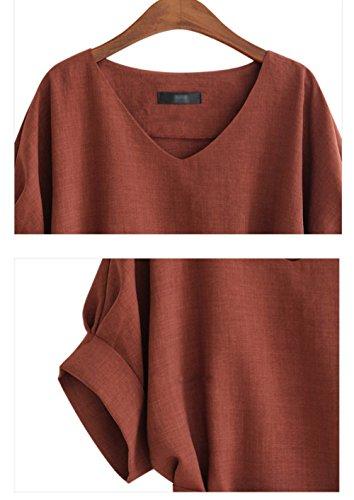 Couleur Tops Hauts Manches New Blouses Bandage Rouge Femmes Shirt Souris Tops V Casual avec Unie T Chauve Chemisiers Vin Col t xPdxqwBY