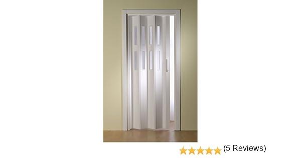 Plástico de puerta plegable luci. Color Blanco B 88,5 x h 202 cm, con 2 ventanas filas: Amazon.es: Bricolaje y ...
