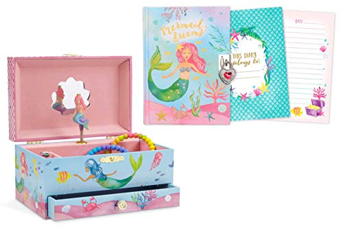 Box Gift Blue Magical - JewelKeeper Mermaid Musical Jewelry Box with Pullout Drawer and Matching 300 Double-Sided Page Diary with Lock and Key Gift Set
