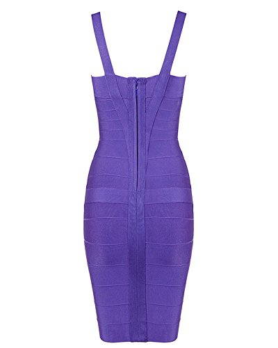Rayon Women's Bodycon Whoinshop Dress Sleeveless Bandage Strap Cute Purple q4w1na