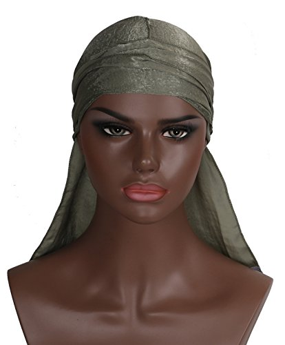 Silk Durag Doo Du Rag – Khaki Olive Green Colored Mane Satin Du-rag Cap Hat For Women Or Men XL XXL Long Thick Color 360 540 Designer Gay (Clothing Khaki : Accessories Womens)