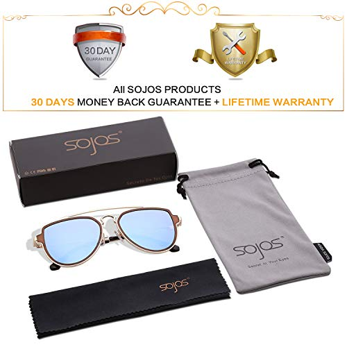 8be87caf02 SOJOS Fashion Polarized Aviator Sunglasses for Men Women Mirrored Lens  SJ1051 with Gold Frame Dusty