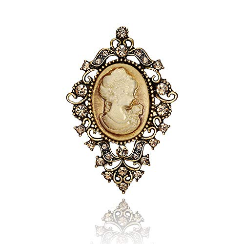 Vintage Victorian Queen Lady Cameo Enamel Brooch Big Size Rhinestone Crystal Fashion Jewelry (Brooch 2)