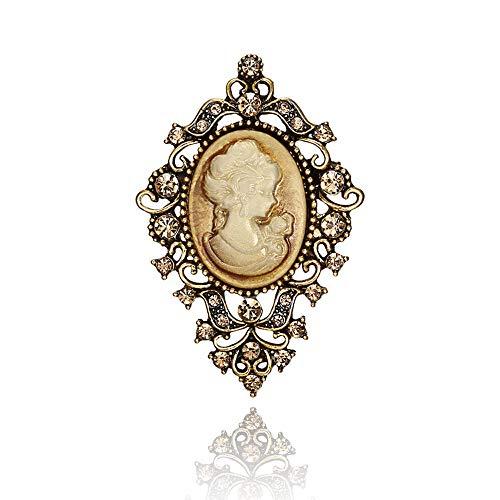 Vintage Victorian Queen Lady Cameo Enamel Brooch Big Size Rhinestone Crystal Fashion Jewelry (Brooch - Zirconia Vintage Brooch