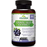 Zazzee Grape Seed Extract 20,000 mg Strength, 180 Vegan Capsules, 95% Polyphenols (Proanthocyanidins), Potent 50:1 Extract, 400 mg per Capsule, 6 Month Supply, Non-GMO and All-Natural