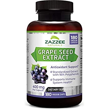 Zazzee Grape Seed Extract, 180 Veggie Caps, 400 mg, 6 Month Supply, Minimum 95% Polyphenols (Proanthocyanidins), Vegan, Non-GMO and All Natural