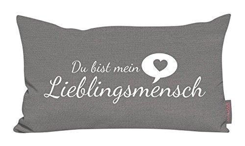 Kissen Lieblingsmensch grau 30x50cm Made in Germany