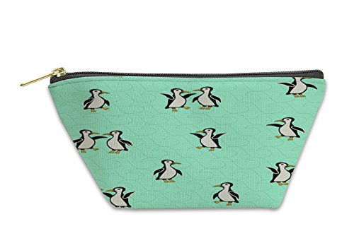 Gear New Accessory Zipper Pouch, Funny Penguins On A Turquoise With Waves, Large, (Turquoise New Wave Rug)
