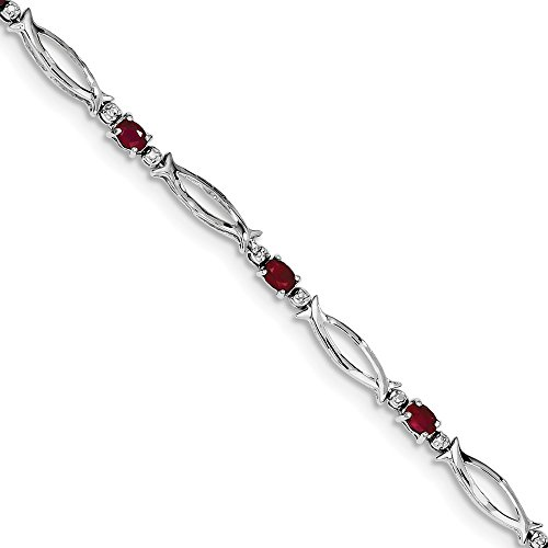 925 Sterling Silver Composite Red Ruby Diamond Bracelet 7 Inch Gemstone Fine Jewelry Gifts For Women For Her