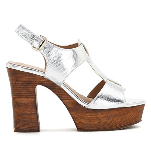 Height amp;Scarpe with Alesya High 10 and Plateau Wood Heel Sandals cm Heeled Effect Heel Argento Scarpe B74xqT