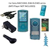 6 Items Accessories Bundle Kit for Sony Walkman NWZ-E463, NWZ-E464 and NWZ-E465 MP3 Player: Includes (Clear) Soft Gel Thermoplastic Polyurethane TPU Skin Case Cover, LCD Screen Protector, USB Wall Charger, USB Car Charger, 2in1 USB Cable and Light Blue Fishbone Style Keychain