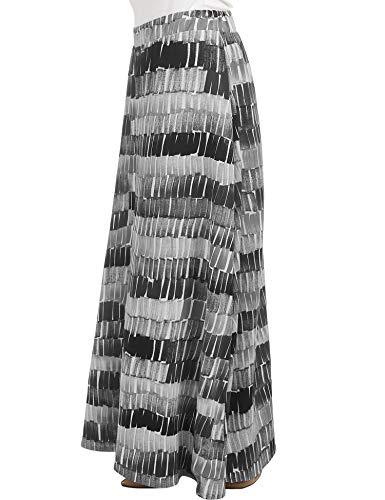 Lock and Love LL WB1448 Womens Printed Maxi Skirt with Waist Elastic Band S Black_Grey ()