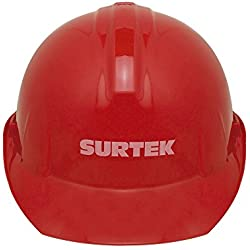 Surtek 137312 Casco de Seguridad con Ajuste de Intervalos, color Rojo