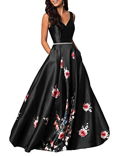 Aurora Bridal Womens V Neck Floral Print Prom Dresses 2019 Long Formal Evening Gowns with Pockets Size 16 Black