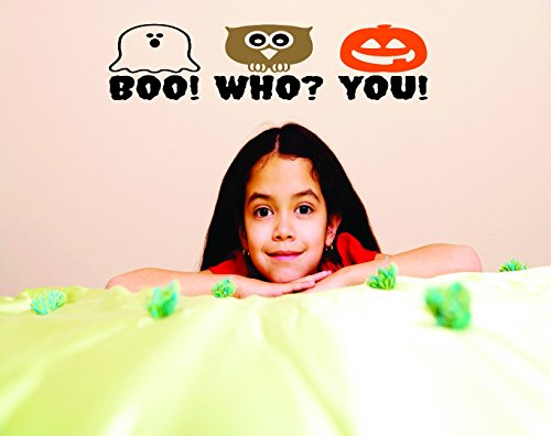 Design with Vinyl RAD 649 3 Halloween Boo! Who You! Holiday Quote Vinyl Wall Decal, As Seen, 20