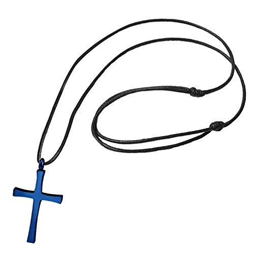 555Jewelry Stainless Steel Metal Cross Adjustable Black Leather Cord Unisex Women Men Religious Christian Vintage Braided Rope Chain Fashion Jewelry Accessory Pendant Necklace, Blue 18 Inch]()