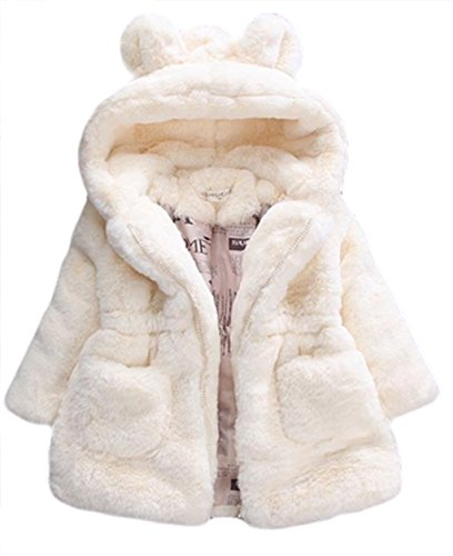 Kid Girls Fur 3D Cartoon Ear Hooded Coats Winter Thick Warm Jackets Outerwear