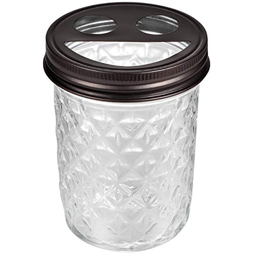 Mason Jar Toothbrush Holder - Premium Rustproof 304 Stainless Steel - Smile Lid Holds 2 Toothbrushes and Toothpaste - Farmhouse Decor Countertop and Vanity Storage Organizer/Bronze ()
