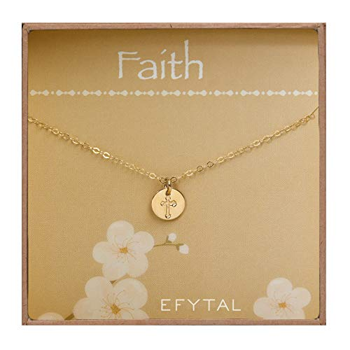 (EFYTAL Tiny Gold Filled Faith Cross Necklace, Small Simple Dainty Disc Pendant, First Communion Gift for Girls and)