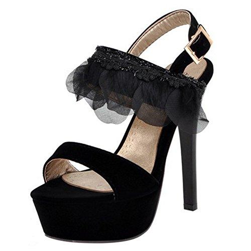 COOLCEPT Mujer Moda Correa de Tobillo Sandalias Tacon Delgado Alto Peep Toe Plataforma Slingback Zapatos Negro