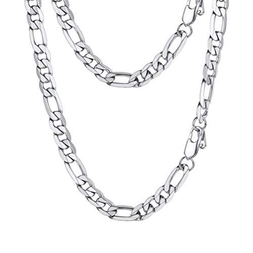 PROSTEEL Figaro Link Necklace Stainless Steel 9mm Big Wide Chain Chunky Choker Necklace 24'' Men Jewelry Gift