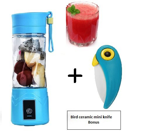 Freefresh USB Juicer Cup, Fruit Mixing Machine, Portable Personal Size Eletric Rechargeable Juicer, Mixer, Blender, Water Bottle 380ml with USB Charger Cable, bonus mini bird ceramic knife