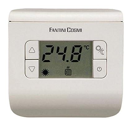 FANTINI COSMI CH111 Termostato ambiente a pilas, 3 temperaturas, Plata